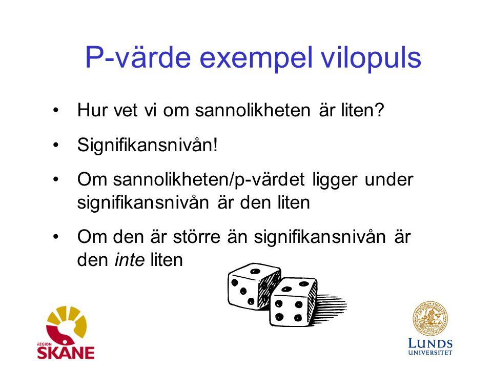 P-värde exempel vilopuls Hur vet vi om sannolikheten är liten.