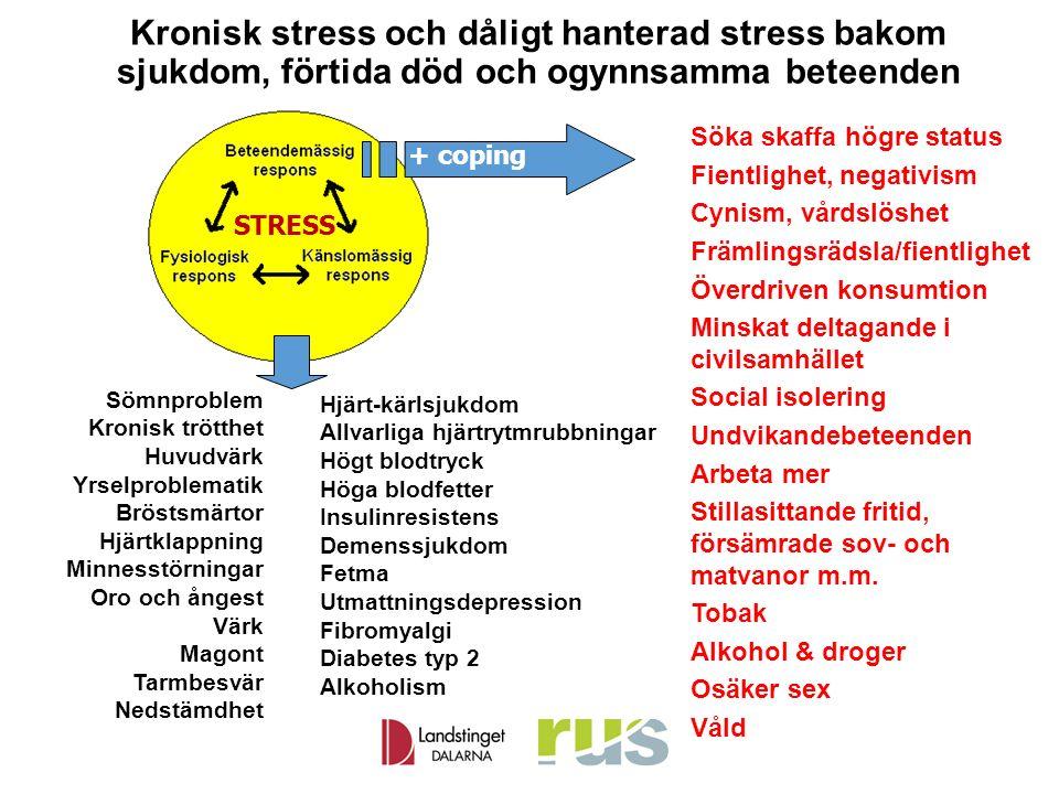 Kronisk stress och dåligt hanterad stress bakom sjukdom, förtida död och ogynnsamma beteenden Söka skaffa högre status Fientlighet, negativism Cynism,