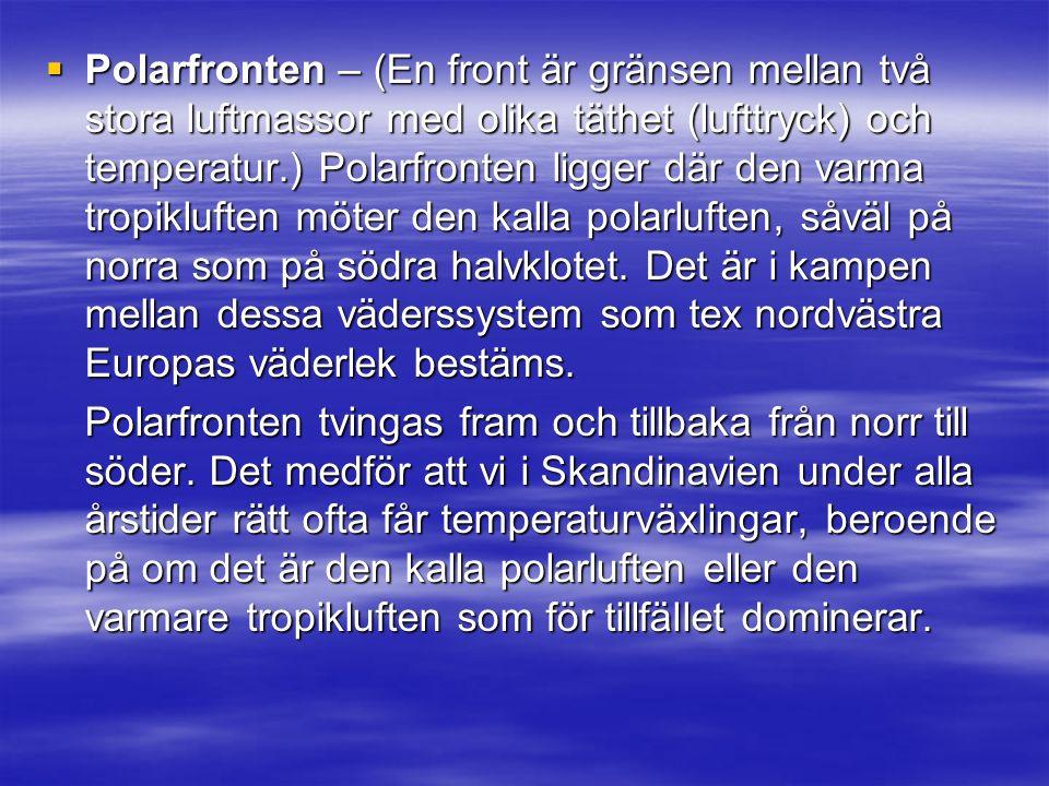  Polarfronten – (En front är gränsen mellan två stora luftmassor med olika täthet (lufttryck) och temperatur.) Polarfronten ligger där den varma tropikluften möter den kalla polarluften, såväl på norra som på södra halvklotet.