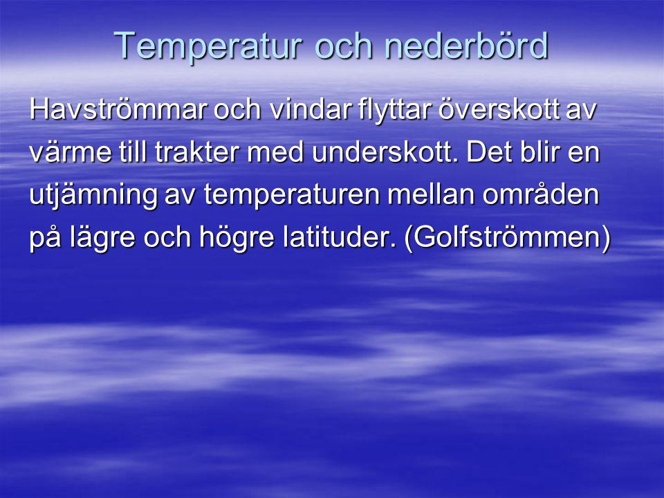 Temperatur och nederbörd Havströmmar och vindar flyttar överskott av värme till trakter med underskott.