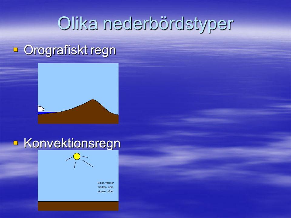 Olika nederbördstyper  Orografiskt regn  Konvektionsregn