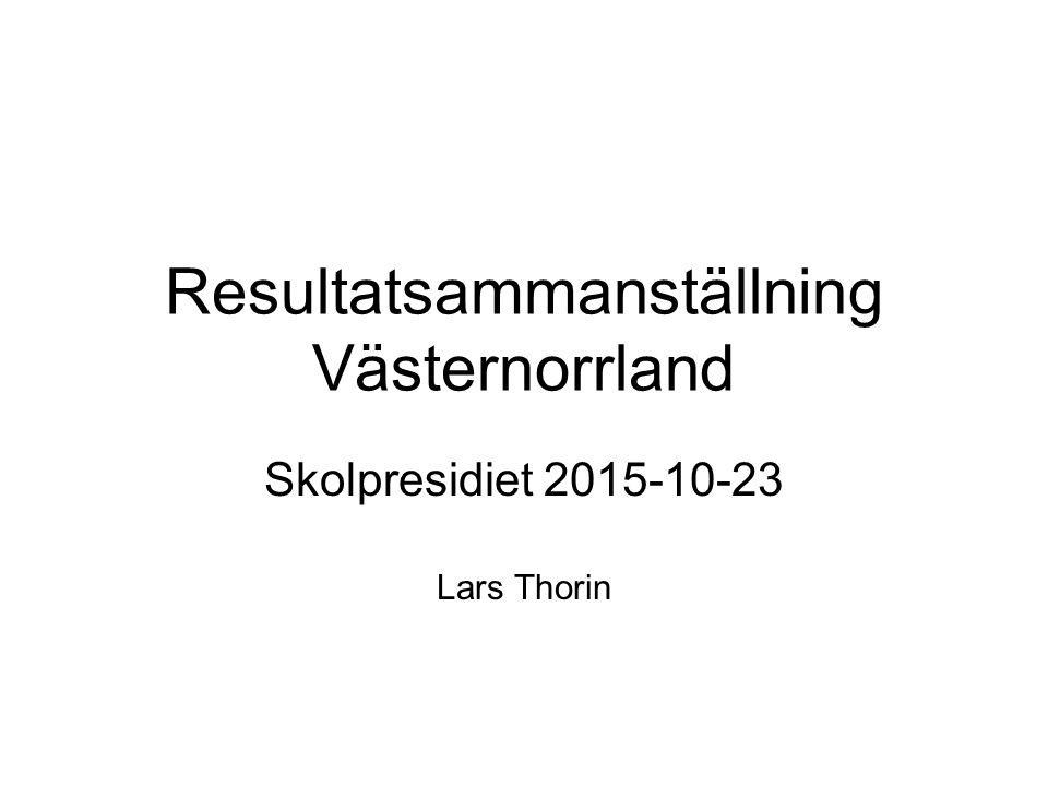 Resultatsammanställning Västernorrland Skolpresidiet 2015-10-23 Lars Thorin