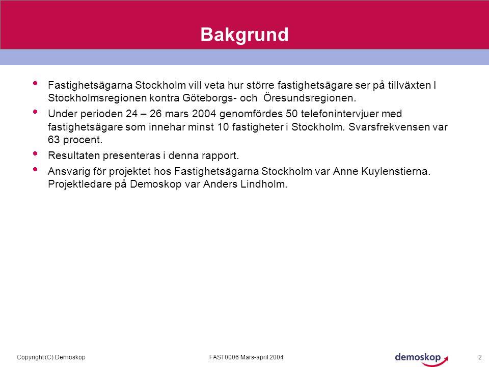 FAST0006 Mars-april 2004Copyright (C) Demoskop 2 Bakgrund  Fastighetsägarna Stockholm vill veta hur större fastighetsägare ser på tillväxten I Stockholmsregionen kontra Göteborgs- och Öresundsregionen.
