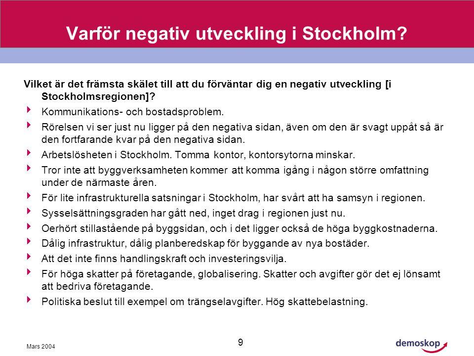 Mars 2004 9 Varför negativ utveckling i Stockholm.