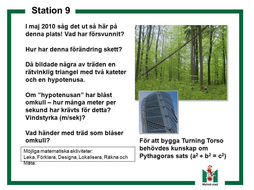 Station 9 För att bygga Turning Torso behövdes kunskap om Pythagoras sats (a 2 + b 2 = c 2 ) I maj 2010 såg det ut så här på denna plats! Vad har förs
