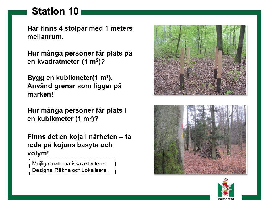 Station 10 Här finns 4 stolpar med 1 meters mellanrum. Hur många personer får plats på en kvadratmeter (1 m 2 )? Bygg en kubikmeter(1 m³). Använd gren