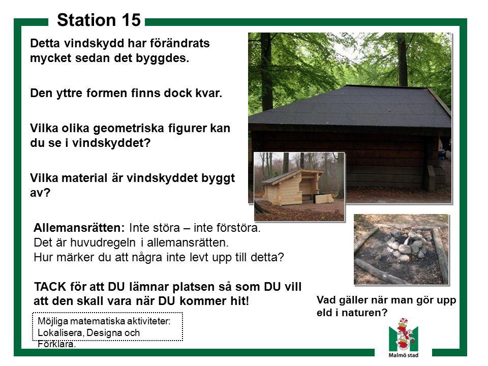 Station 15 Dokumentera! Vad gäller när man gör upp eld i naturen? Detta vindskydd har förändrats mycket sedan det byggdes. Den yttre formen finns dock