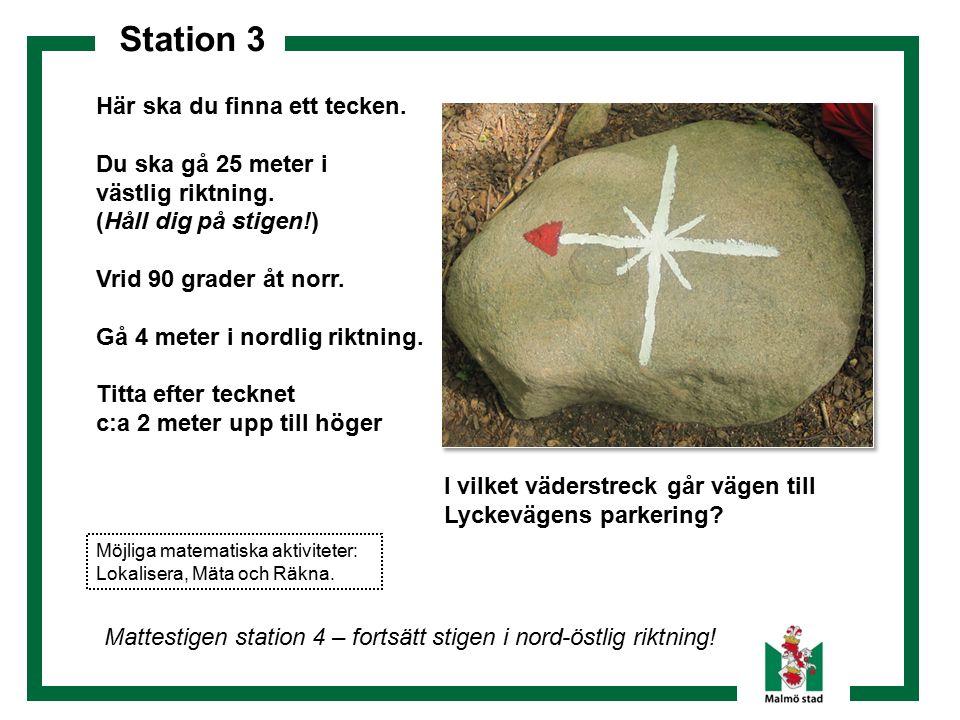 Station 3 Här ska du finna ett tecken. Du ska gå 25 meter i västlig riktning. (Håll dig på stigen!) Vrid 90 grader åt norr. Gå 4 meter i nordlig riktn