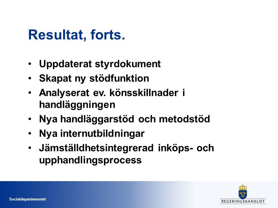 Socialdepartementet Resultat, forts. Uppdaterat styrdokument Skapat ny stödfunktion Analyserat ev.