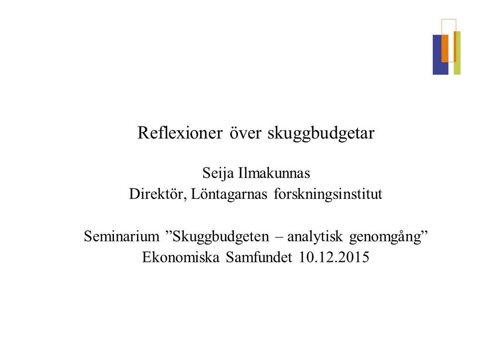 """Reflexioner över skuggbudgetar Seija Ilmakunnas Direktör, Löntagarnas forskningsinstitut Seminarium """"Skuggbudgeten – analytisk genomgång"""" Ekonomiska S"""
