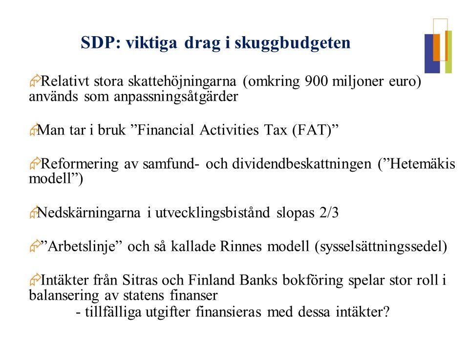 """ Relativt stora skattehöjningarna (omkring 900 miljoner euro) används som anpassningsåtgärder  Man tar i bruk """"Financial Activities Tax (FAT)""""  Ref"""