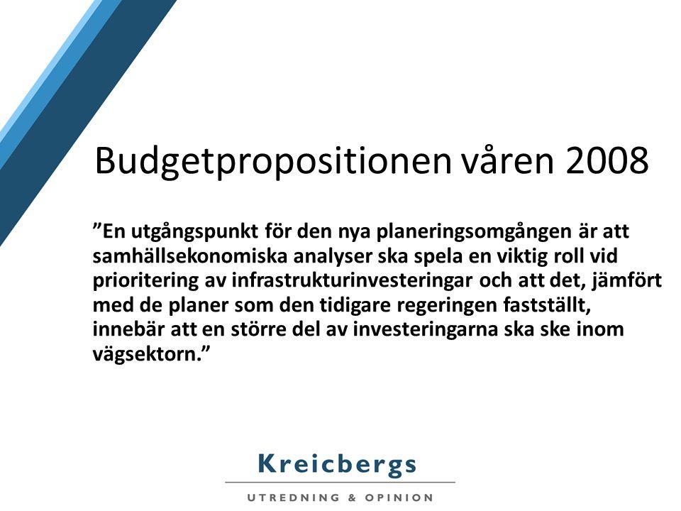 Budgetpropositionen våren 2008 En utgångspunkt för den nya planeringsomgången är att samhällsekonomiska analyser ska spela en viktig roll vid prioritering av infrastrukturinvesteringar och att det, jämfört med de planer som den tidigare regeringen fastställt, innebär att en större del av investeringarna ska ske inom vägsektorn.