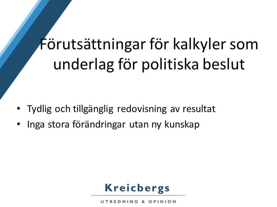 Förutsättningar för kalkyler som underlag för politiska beslut Tydlig och tillgänglig redovisning av resultat Inga stora förändringar utan ny kunskap