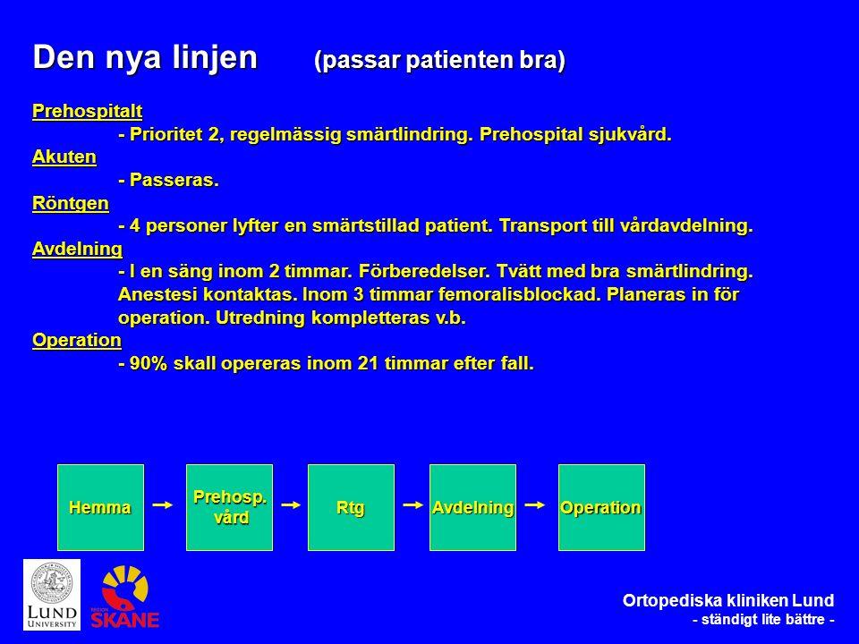 Den nya linjen (passar patienten bra) Prehospitalt - Prioritet 2, regelmässig smärtlindring.