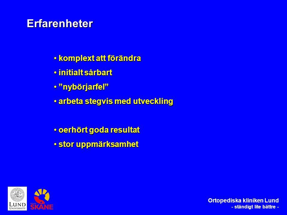 komplext att förändra komplext att förändra initialt sårbart initialt sårbart nybörjarfel nybörjarfel arbeta stegvis med utveckling arbeta stegvis med utveckling oerhört goda resultat oerhört goda resultat stor uppmärksamhet stor uppmärksamhet Erfarenheter Ortopediska kliniken Lund - ständigt lite bättre -