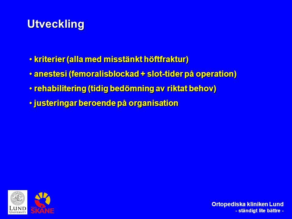 kriterier (alla med misstänkt höftfraktur) kriterier (alla med misstänkt höftfraktur) anestesi (femoralisblockad + slot-tider på operation) anestesi (femoralisblockad + slot-tider på operation) rehabilitering (tidig bedömning av riktat behov) rehabilitering (tidig bedömning av riktat behov) justeringar beroende på organisation justeringar beroende på organisation Utveckling Ortopediska kliniken Lund - ständigt lite bättre -