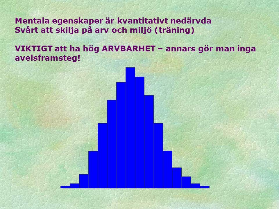 Mentala egenskaper är kvantitativt nedärvda Svårt att skilja på arv och miljö (träning) VIKTIGT att ha hög ARVBARHET – annars gör man inga avelsframsteg!