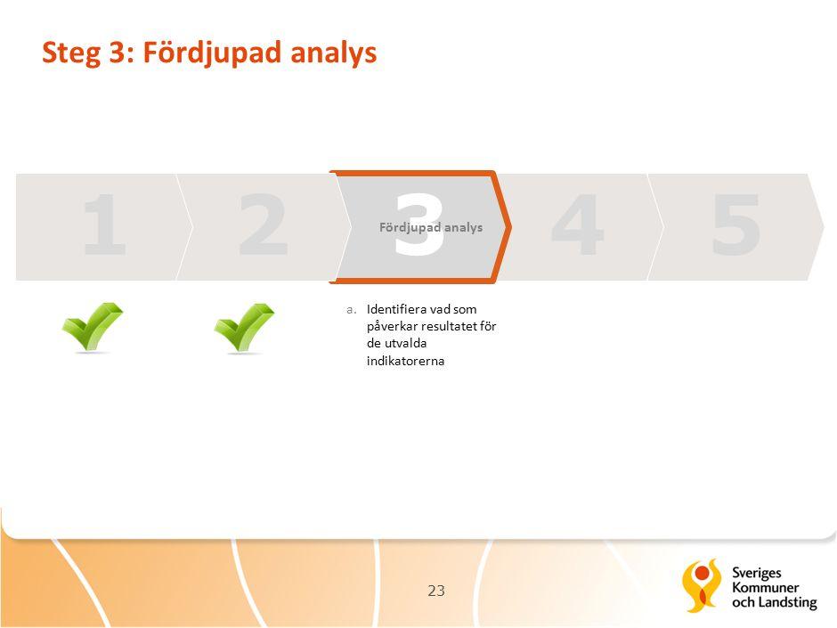 Steg 3: Fördjupad analys 23 13425 Fördjupad analys a.Identifiera vad som påverkar resultatet för de utvalda indikatorerna