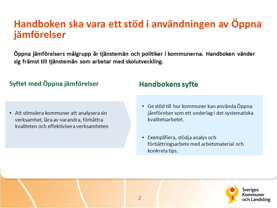 Handboken ska vara ett stöd i användningen av Öppna jämförelser 2 Syftet med Öppna jämförelser Handbokens syfte Att stimulera kommuner att analysera sin verksamhet, lära av varandra, förbättra kvaliteten och effektivisera verksamheten Ge stöd till hur kommuner kan använda Öppna jämförelser som ett underlag i det systematiska kvalitetsarbetet.