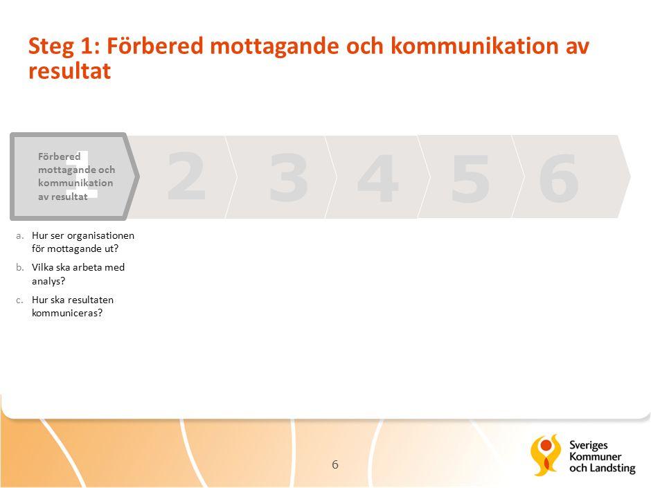 6 Steg 1: Förbered mottagande och kommunikation av resultat 6 a.Hur ser organisationen för mottagande ut.