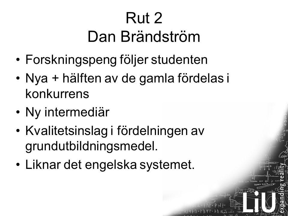 15 Rut 2 Dan Brändström Forskningspeng följer studenten Nya + hälften av de gamla fördelas i konkurrens Ny intermediär Kvalitetsinslag i fördelningen