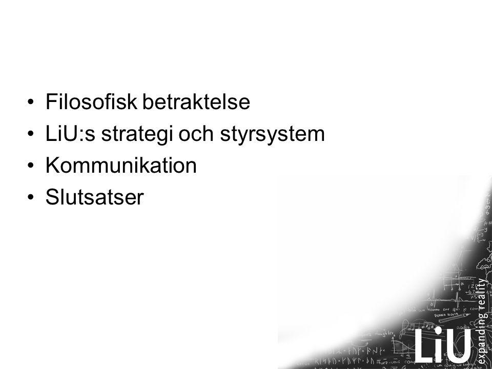 22 Filosofisk betraktelse LiU:s strategi och styrsystem Kommunikation Slutsatser