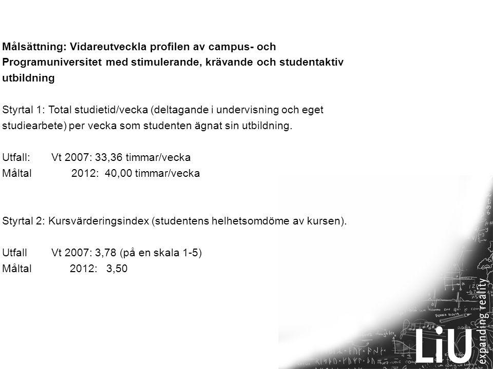 10 Målsättning: Vidareutveckla det engagerande och ansvarstagande akademiska ledarskapet Styrtal: Ledarskapsindex.