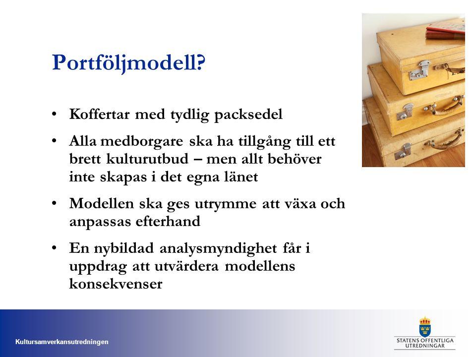 Kultursamverkansutredningen Portföljmodell? Koffertar med tydlig packsedel Alla medborgare ska ha tillgång till ett brett kulturutbud – men allt behöv