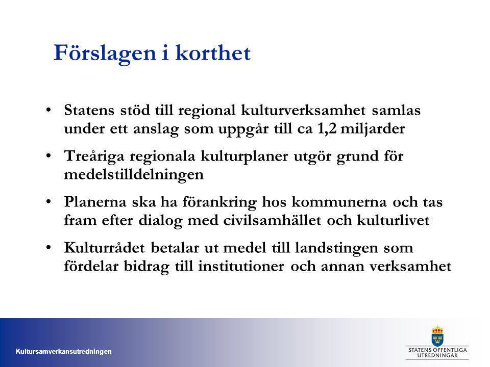 Kultursamverkansutredningen Förslagen i korthet Statens stöd till regional kulturverksamhet samlas under ett anslag som uppgår till ca 1,2 miljarder T
