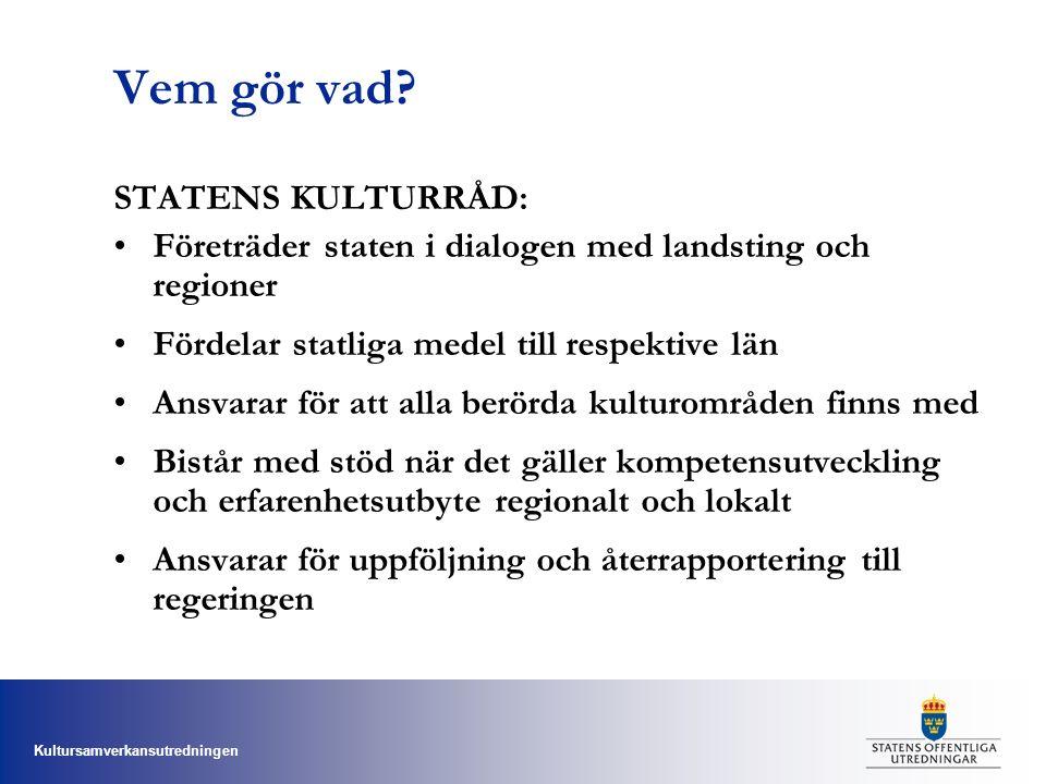 Kultursamverkansutredningen Vem gör vad? STATENS KULTURRÅD: Företräder staten i dialogen med landsting och regioner Fördelar statliga medel till respe