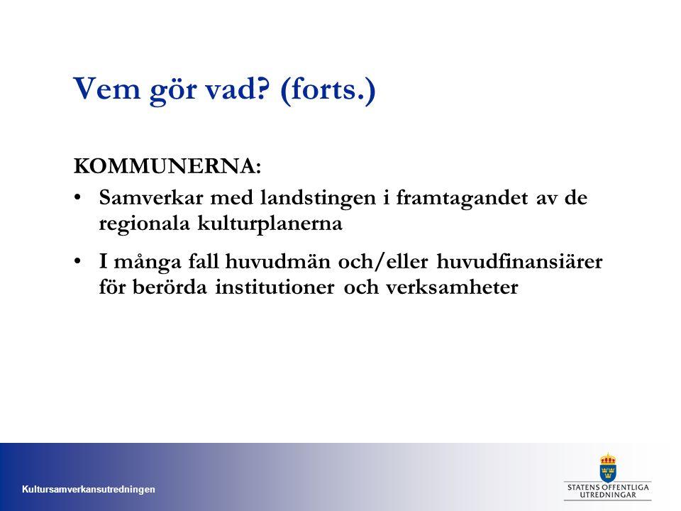 Kultursamverkansutredningen Vem gör vad? (forts.) KOMMUNERNA: Samverkar med landstingen i framtagandet av de regionala kulturplanerna I många fall huv