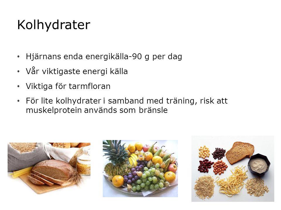 Kolhydrater Hjärnans enda energikälla-90 g per dag Vår viktigaste energi källa Viktiga för tarmfloran För lite kolhydrater i samband med träning, risk att muskelprotein används som bränsle