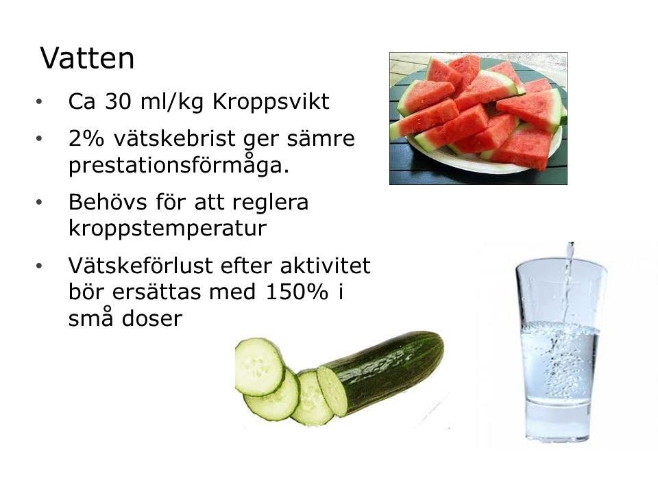 Vatten Ca 30 ml/kg Kroppsvikt 2% vätskebrist ger sämre prestationsförmåga.