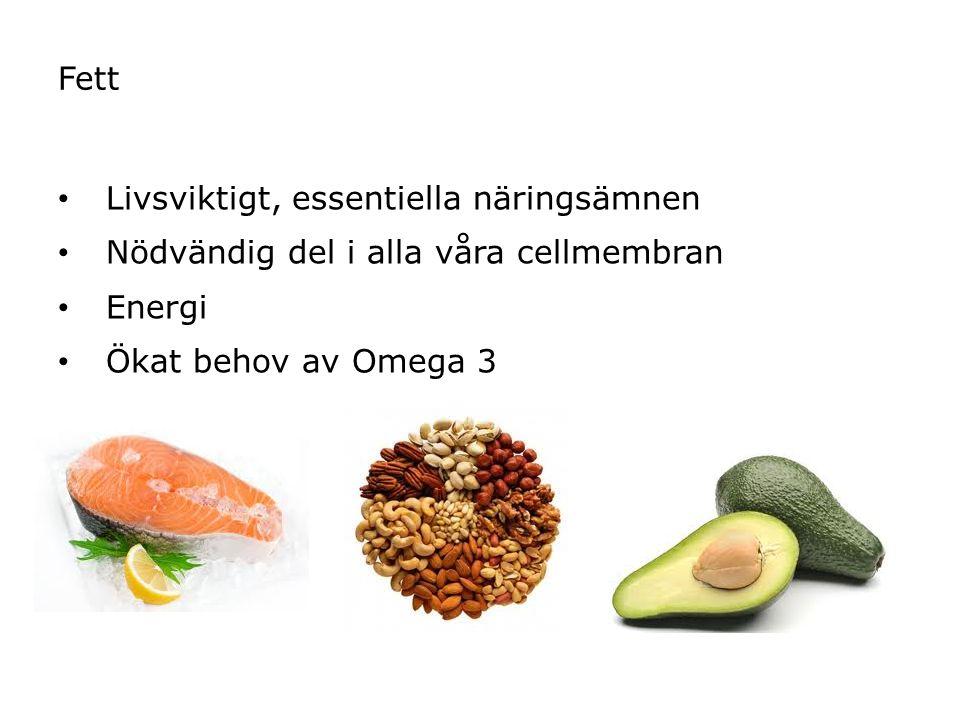 Fett Livsviktigt, essentiella näringsämnen Nödvändig del i alla våra cellmembran Energi Ökat behov av Omega 3