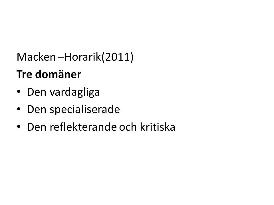 Macken –Horarik(2011) Tre domäner Den vardagliga Den specialiserade Den reflekterande och kritiska