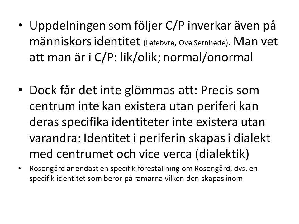 Uppdelningen som följer C/P inverkar även på människors identitet (Lefebvre, Ove Sernhede ). Man vet att man är i C/P: lik/olik; normal/onormal Dock f