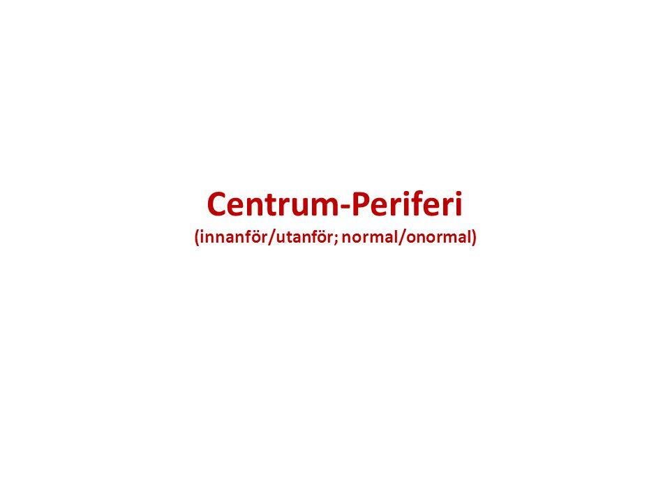 Centrum-Periferi (innanför/utanför; normal/onormal)