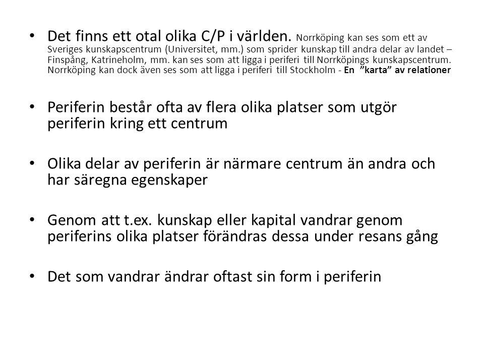 Det finns ett otal olika C/P i världen. Norrköping kan ses som ett av Sveriges kunskapscentrum (Universitet, mm.) som sprider kunskap till andra delar