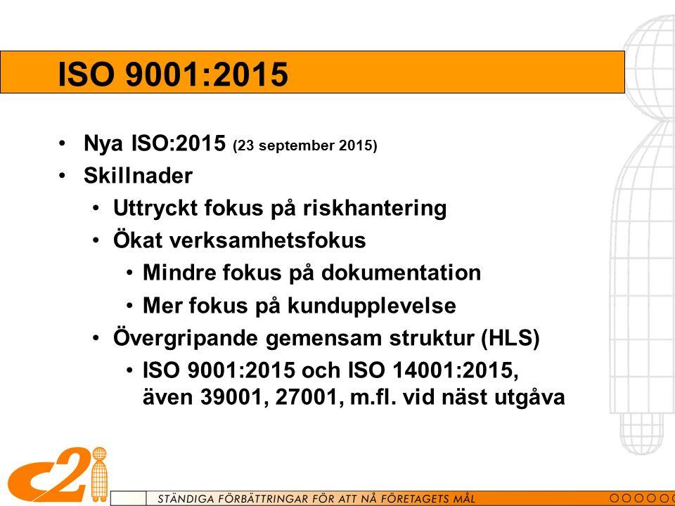 ISO 9001:2015 Nya ISO:2015 (23 september 2015) Skillnader Uttryckt fokus på riskhantering Ökat verksamhetsfokus Mindre fokus på dokumentation Mer fokus på kundupplevelse Övergripande gemensam struktur (HLS) ISO 9001:2015 och ISO 14001:2015, även 39001, 27001, m.fl.