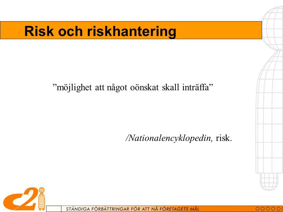 Risk och riskhantering möjlighet att något oönskat skall inträffa /Nationalencyklopedin, risk.