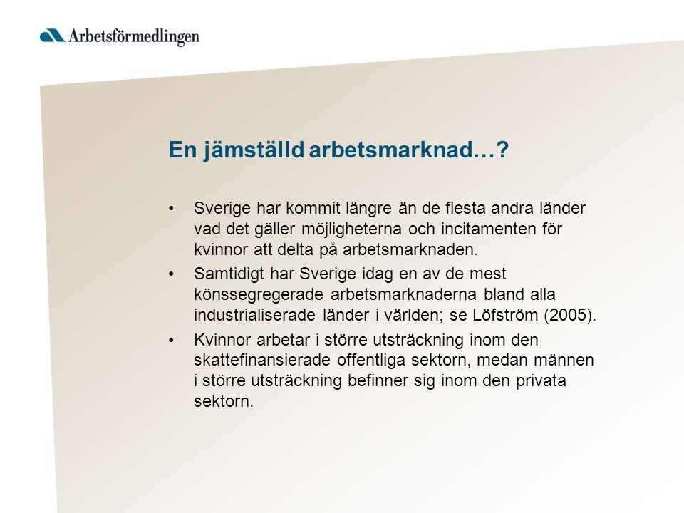 En jämställd arbetsmarknad…? Sverige har kommit längre än de flesta andra länder vad det gäller möjligheterna och incitamenten för kvinnor att delta p