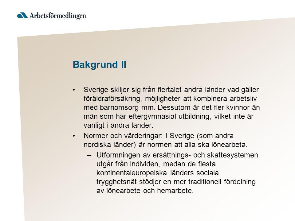 Bakgrund II Sverige skiljer sig från flertalet andra länder vad gäller föräldraförsäkring, möjligheter att kombinera arbetsliv med barnomsorg mm.