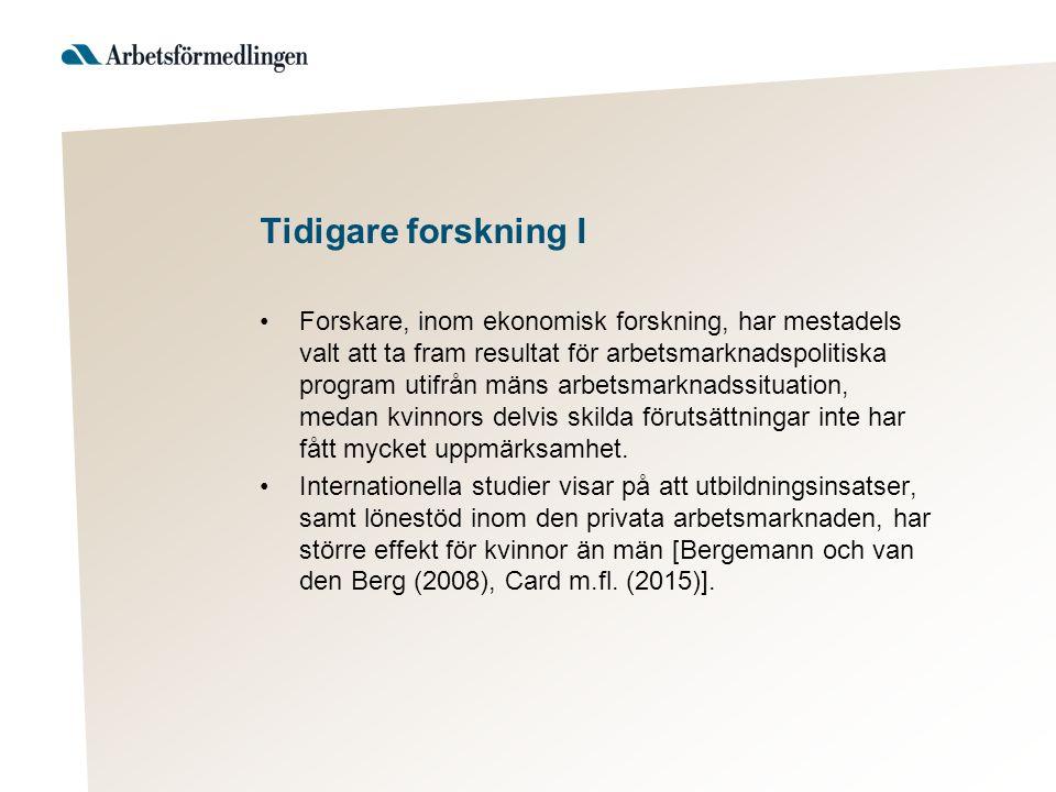 Tidigare forskning II Resultaten skiljer sig från svenska studier, vilka inte hittar några större skillnader mellan kvinnor och män för motsvarande insatser [se tex Richardson och van den Berg (2013)].