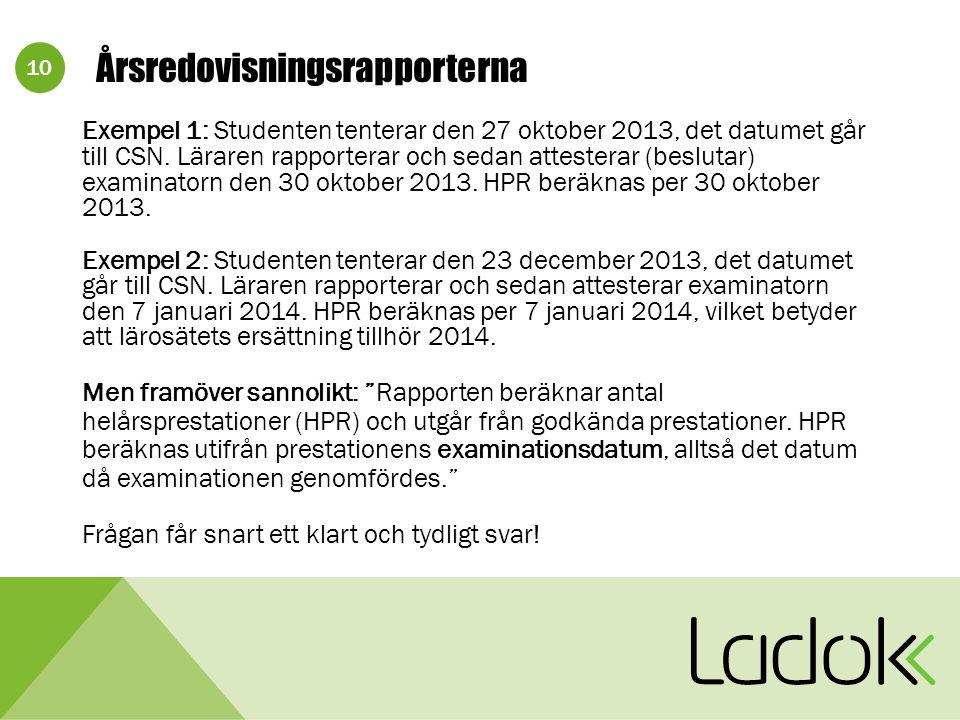 10 Årsredovisningsrapporterna Exempel 1: Studenten tenterar den 27 oktober 2013, det datumet går till CSN.