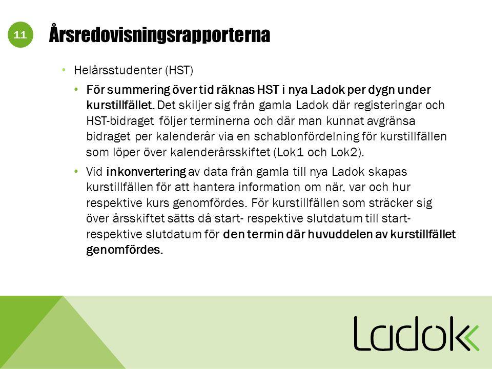 11 Årsredovisningsrapporterna Helårsstudenter (HST) För summering över tid räknas HST i nya Ladok per dygn under kurstillfället.