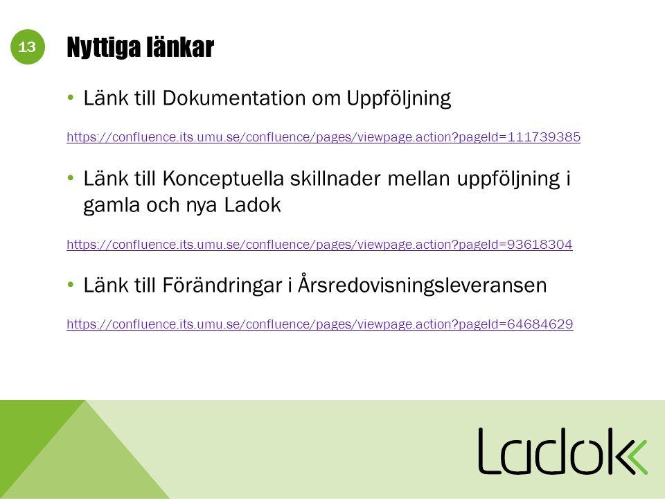 13 Nyttiga länkar Länk till Dokumentation om Uppföljning https://confluence.its.umu.se/confluence/pages/viewpage.action pageId=111739385 Länk till Konceptuella skillnader mellan uppföljning i gamla och nya Ladok https://confluence.its.umu.se/confluence/pages/viewpage.action pageId=93618304 Länk till Förändringar i Årsredovisningsleveransen https://confluence.its.umu.se/confluence/pages/viewpage.action pageId=64684629