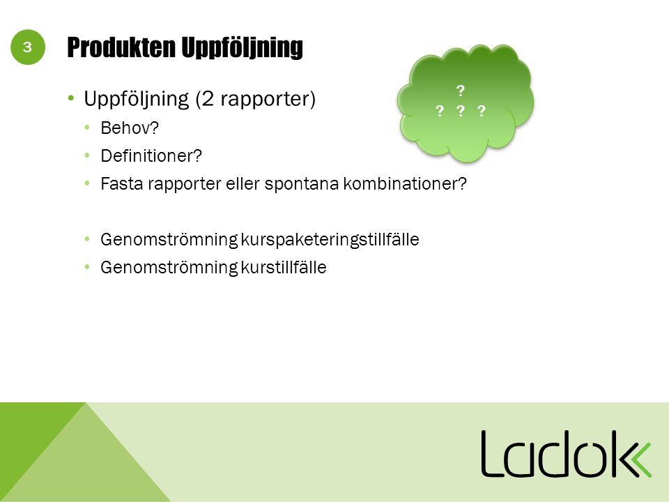 3 Produkten Uppföljning Uppföljning (2 rapporter) Behov.