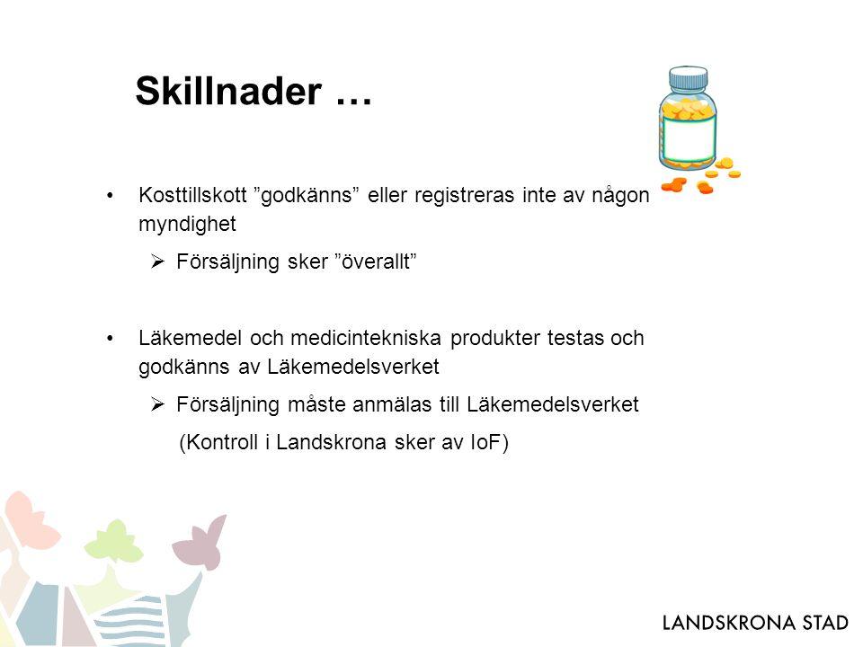 Skillnader … Kosttillskott godkänns eller registreras inte av någon myndighet  Försäljning sker överallt Läkemedel och medicintekniska produkter testas och godkänns av Läkemedelsverket  Försäljning måste anmälas till Läkemedelsverket (Kontroll i Landskrona sker av IoF)