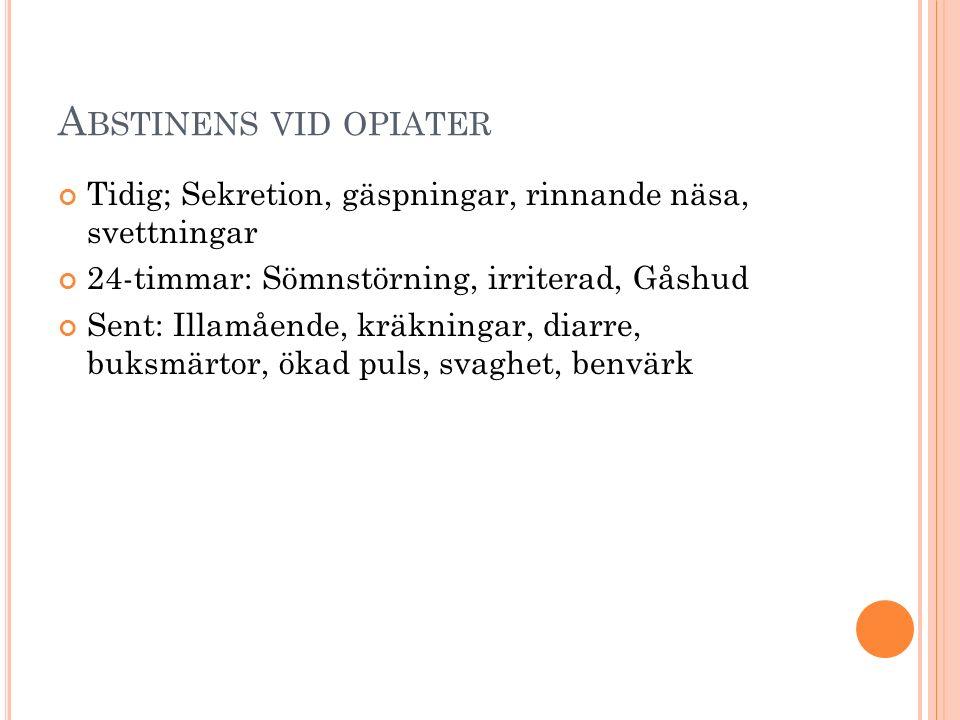 A BSTINENS VID OPIATER Tidig; Sekretion, gäspningar, rinnande näsa, svettningar 24-timmar: Sömnstörning, irriterad, Gåshud Sent: Illamående, kräkninga