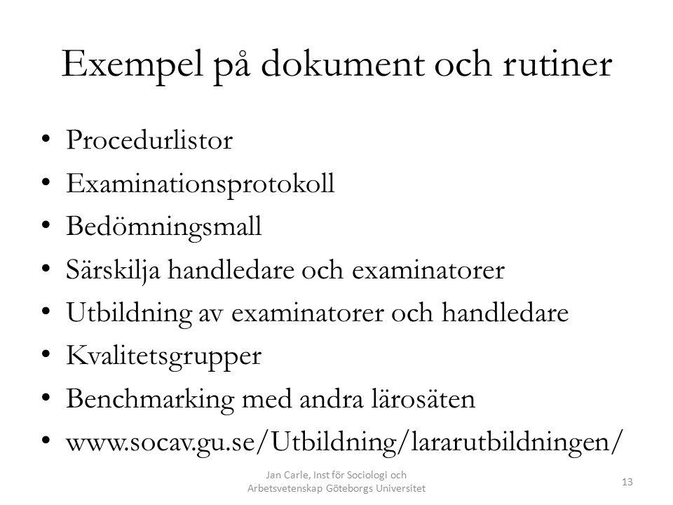 Exempel på dokument och rutiner Procedurlistor Examinationsprotokoll Bedömningsmall Särskilja handledare och examinatorer Utbildning av examinatorer o
